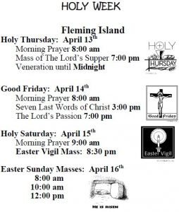 2017 FI Holy Week Schedule