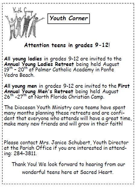 20170716 Youth Retreats in August