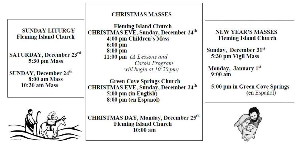 20171210 Christmas Mass Schedule