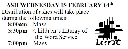 20180128 Ash Wednesday sched pic
