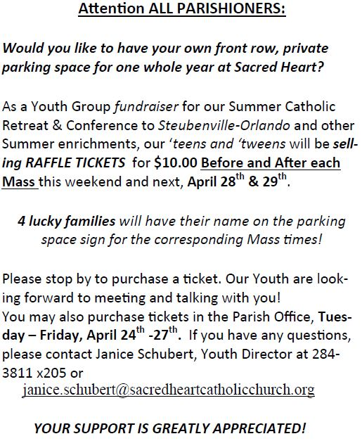 20180422 Raffle Parking Space Youth Group