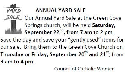 20180916 Annual Yard Sale Sept 22