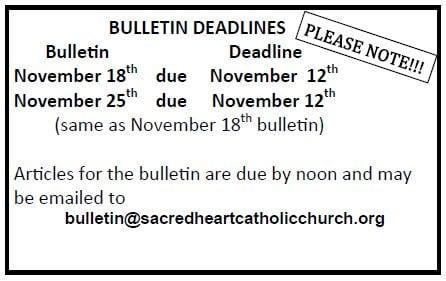 20181111 Bulletin Deadlines