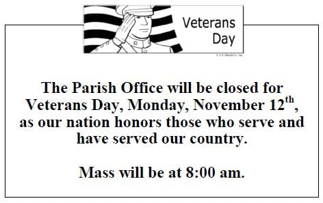 20181111 Office closed on Monday Veterans Day