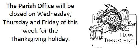 20181118 Office Closed Thanksgiving wed-fri