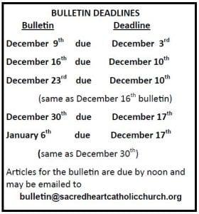 20181125 December Bulletin Deadlines