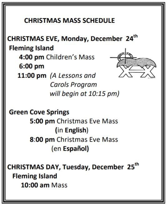 20181216 Christmas Mass Sched pic