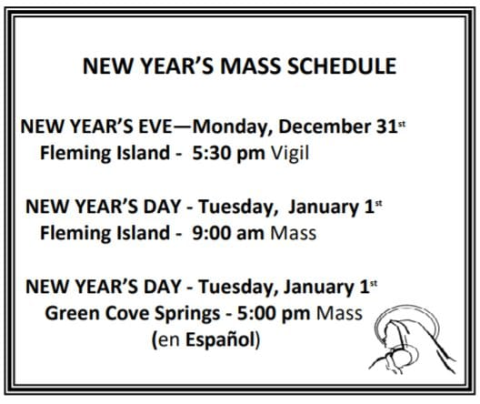 20181216 New Years Mass Sched pic