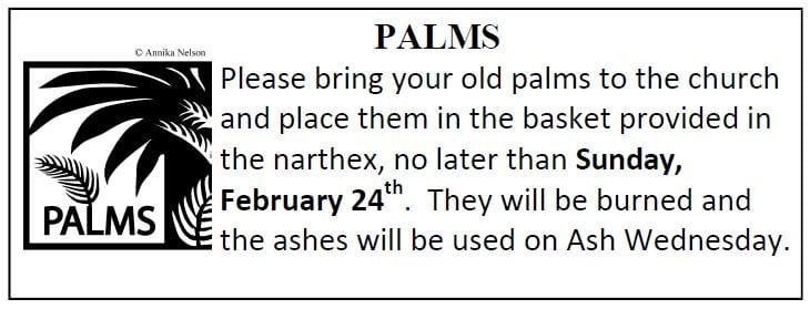 20190217 Give Palms to church by feb 24