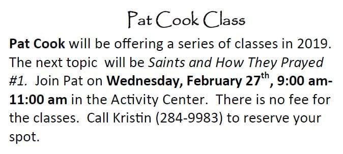 20190217 Pat Cooks class feb 27
