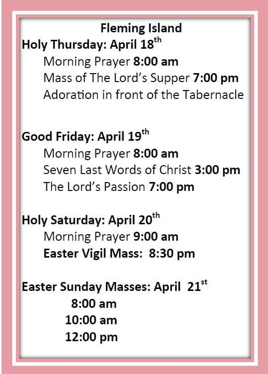 20190407 Easter Holy Day Schedules 1