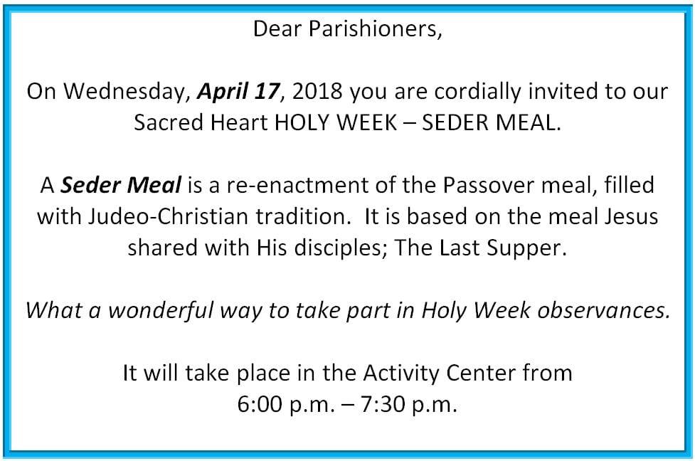 20190414 YM Sedar Meal Holy Week