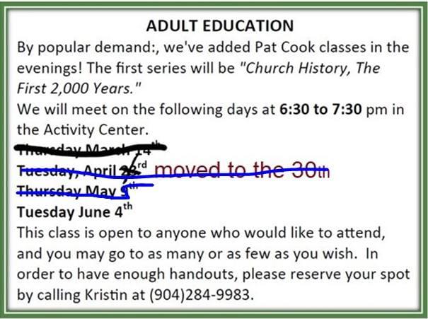 20190512 Pat Cooks Evening Class Church History
