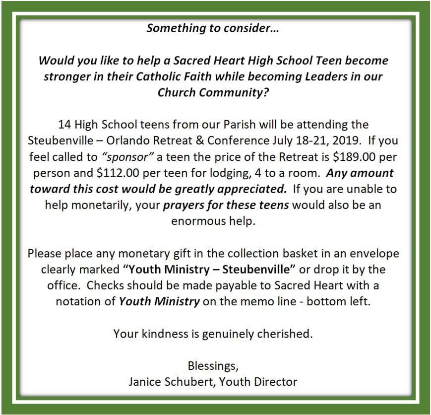 20190623 YM Need Sponsors for Stubeubenville