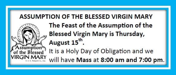 20190811 Mary Feast of Assumption Holy Day