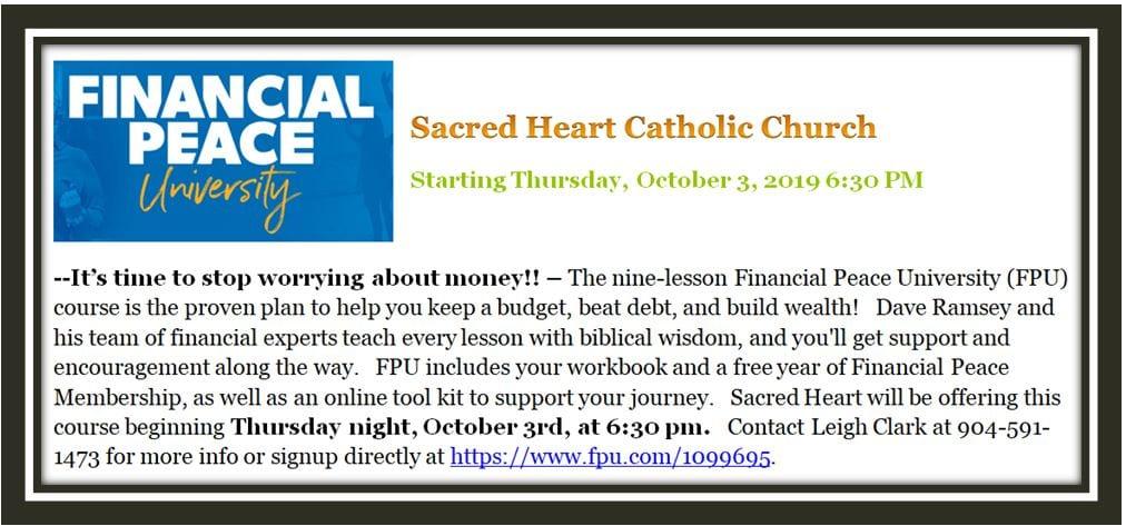 20190915 Financial Peace University Classes Oct 3rd Register
