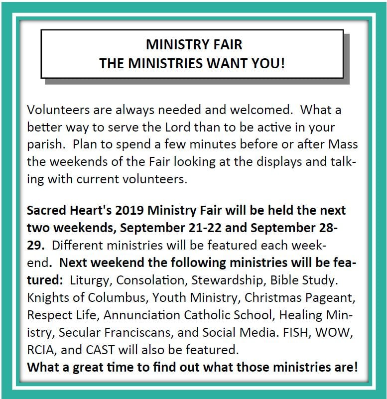 20190915 Ministry Fair Coming Up