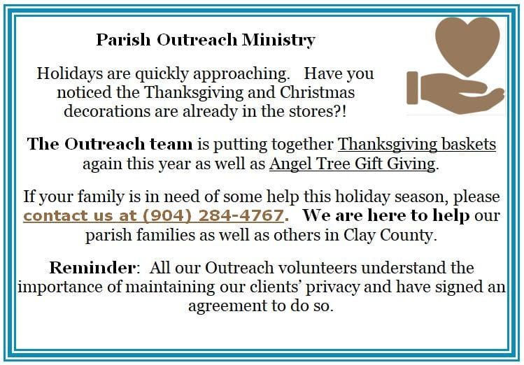 20191013 Parish Outreach Ministry Holidays Coming
