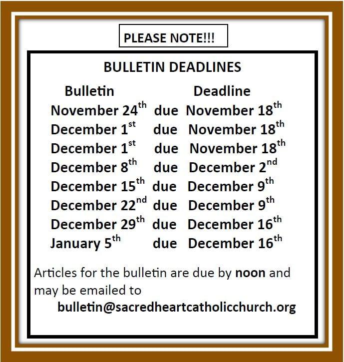 20191102 Bulletin Deadlines now to Jan 5 2020