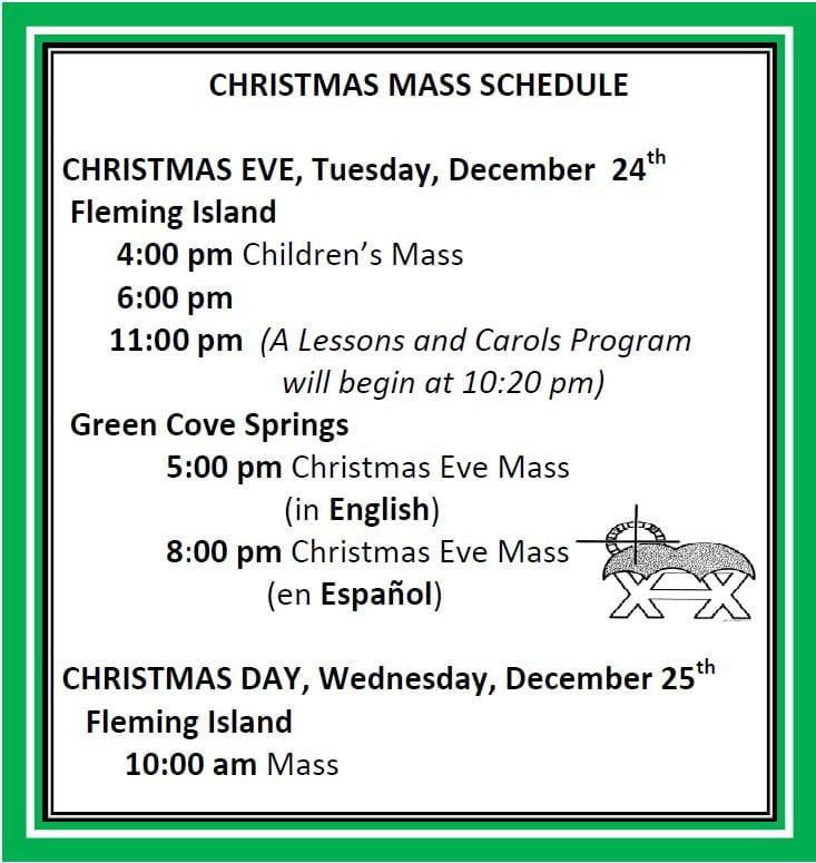 20191208 Christmas Mass Schedule