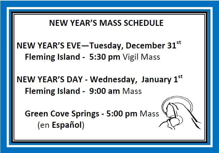 20191208 New Years Mass Schedule