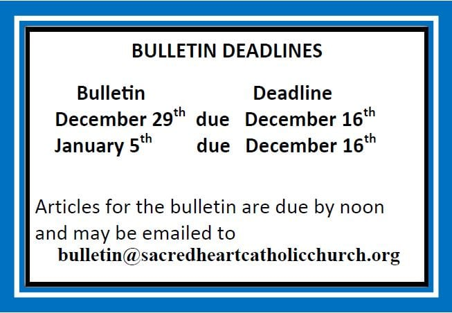 20191215 Bulletin Deadlines