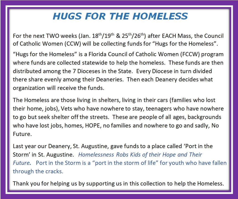 20200110 CCW Hugs for the Homeless