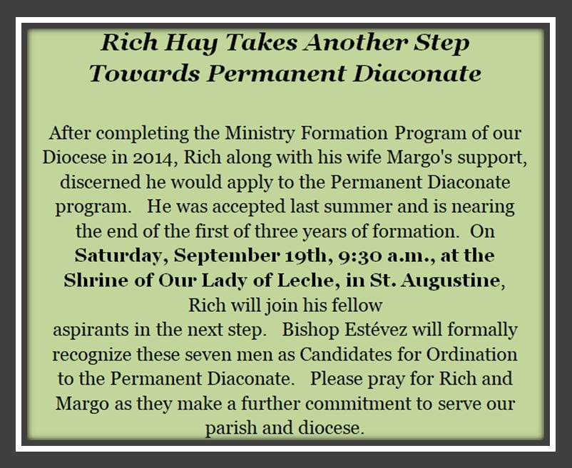 20200703 Rich Hay to be Permanent Diaconate Sept 19th