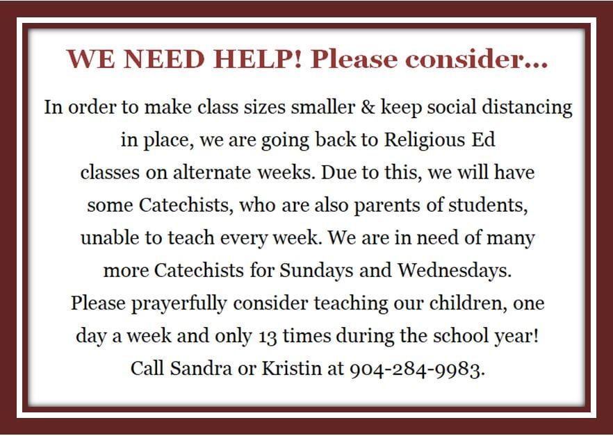 20200802 Need for Catechist Volunteers