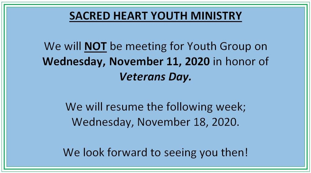 20201031 YM Youth Group Meeting on Nov 11 not mtg