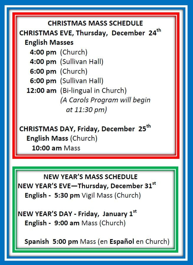 20201211 Christmas and New Years Mass Schedule