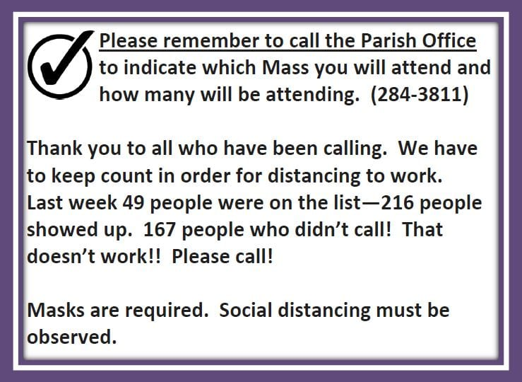 20210115 Please Call to Reserve your seat at Mass pic