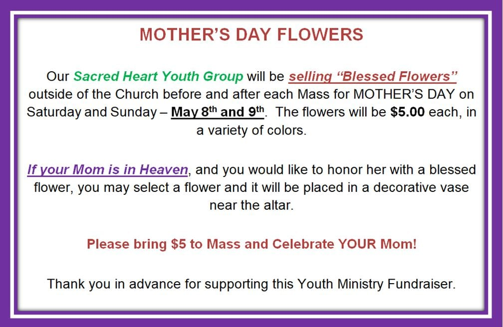 20210502 YM Blessed Flowers Fundraiser May 9 - 10