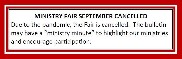 20210820 Ministry Fair Cancelled